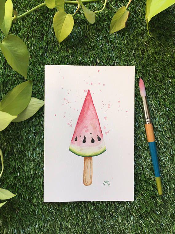 Illustration Popsicle cône melon  Aquarelle  Fait à la main
