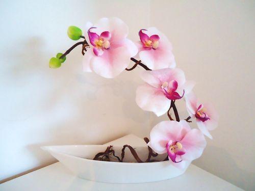 Coupe Vase illusion d'eau ORCHIDEE fleurs artificielles
