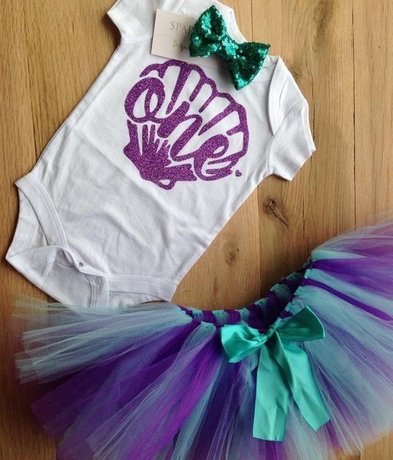 Meerjungfrau Geburtstag Outfit, erste Geburtstag Outfit Mädchen Meerjungfrau, 1. Geburtstag Mädchen Outfit Meerjungfrau, lila Meerjungfrau Shirt, lila Muschel