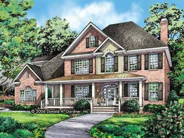 A Stunning Exterior With a Wide Front Porch (HWBDO58622) | New American House Plan from BuilderHousePlans.com: Floors Plans, 3580 Squares, Dreams Houses, Stunning Exterior, Squares Feet, Houses Plans, American Houses, Garage Bays, Front Porches