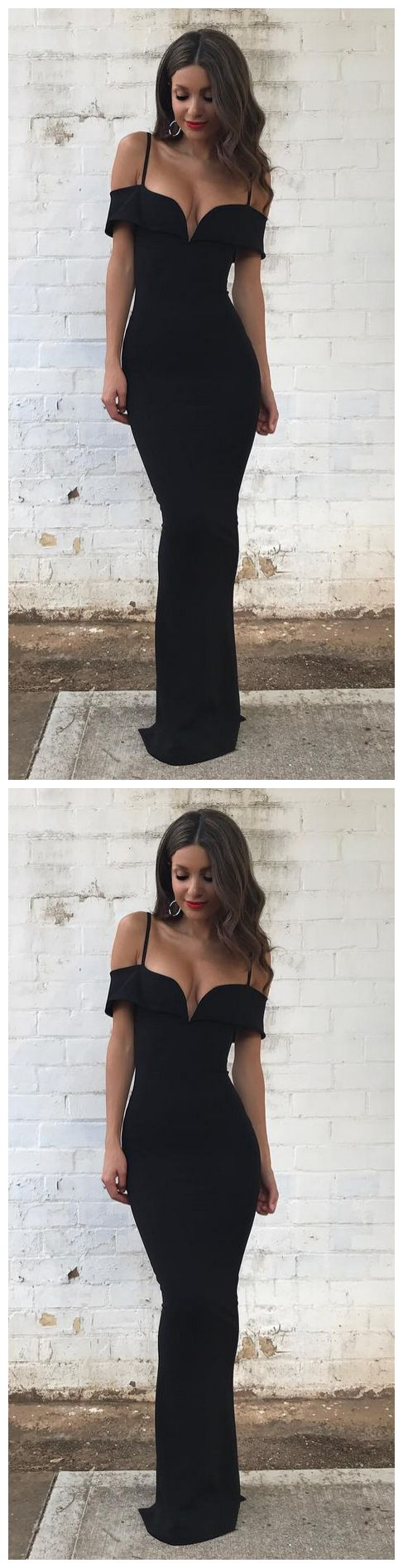Floor Length Black Off The Shoulder Formal Dress
