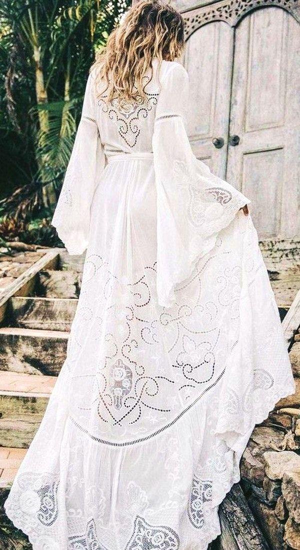 #spellandthegypsycollective #boho #outfits   White Embroidery Boho Maxi Dress