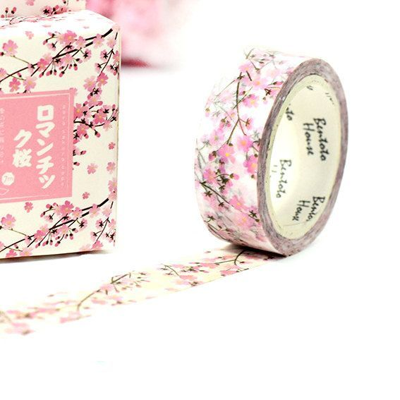 Pink Cherry Blossom Washi Tape, planner supplies, japanese masking tape, floral washi tape, japanese washi tape, kawaii stationery