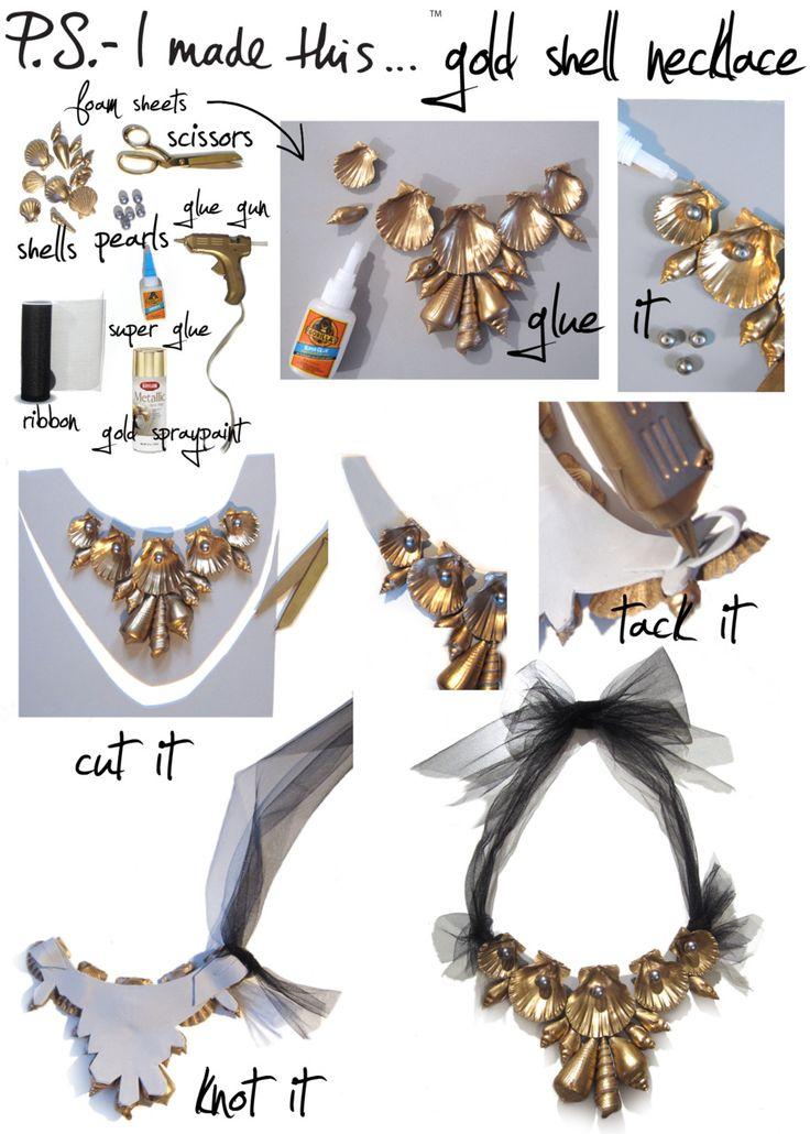 P.S.Diy Gold, Sea Shells, Diy Necklaces, Summer Style, Shells Necklaces, Diy Jewelry, Gold Shells, Sea Glasses, Diy Projects
