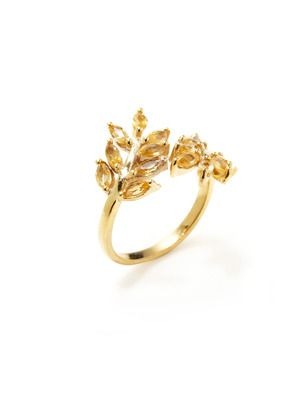 Eddera Yellow Topaz Olive Branch Ring $89