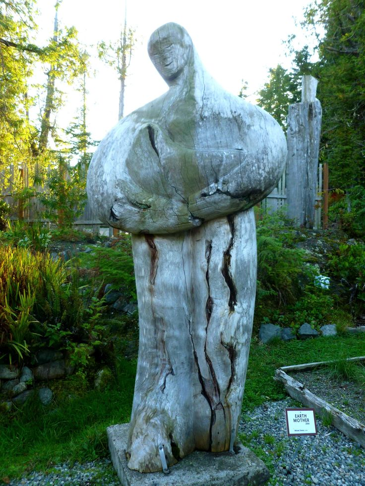Mother Earth sculpture at Tofino Botanical Gardens On Vancouver Island