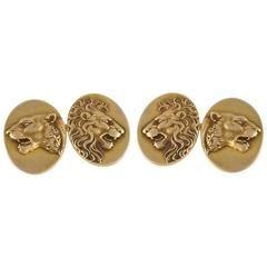 American Art Nouveau Gold Lion Cufflinks