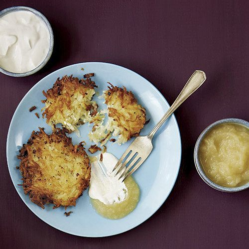 The potato mixture for these ultra-crispy latkes looks loose, but it stays together and forms a golden crust when it hits the hot oil. This recipe can easily be multiplied for a crowd.