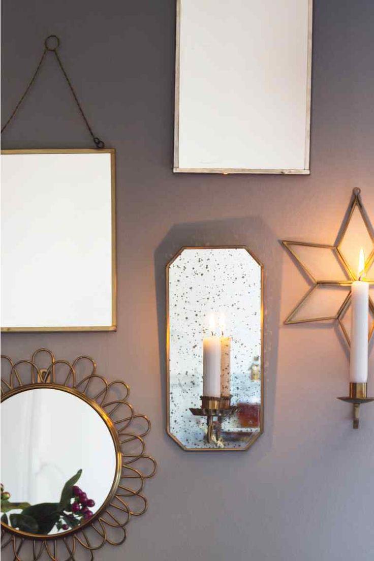 Bougeoir mural Bougeoir mural en métal avec miroir vieilli Fixation au dos pour suspension