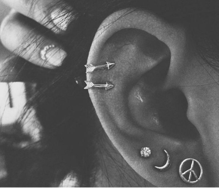 double cartilage with arrow earrings