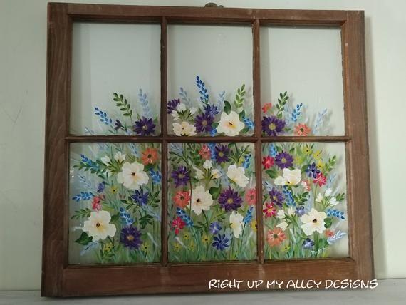 Window Frameold Windowpainted Windowfloralshabby Window Painting Old Window Art Window Pane Art