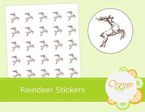 Reindeer Stickers  Reindeer Jumping Labels  by OrangeKiwiDesign