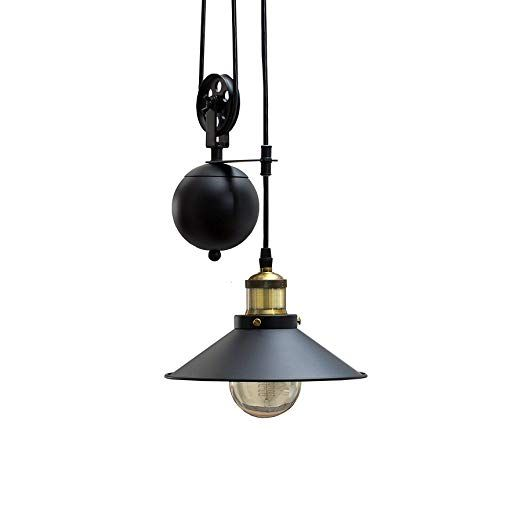 Retro Hangeleuchte Rope Schwarz Hohenverstellbar Seilzug Industrial Design Industrielampe Industrieleuchte Pen Hangeleuchte Esszimmer Beleuchtung Pendelleuchte