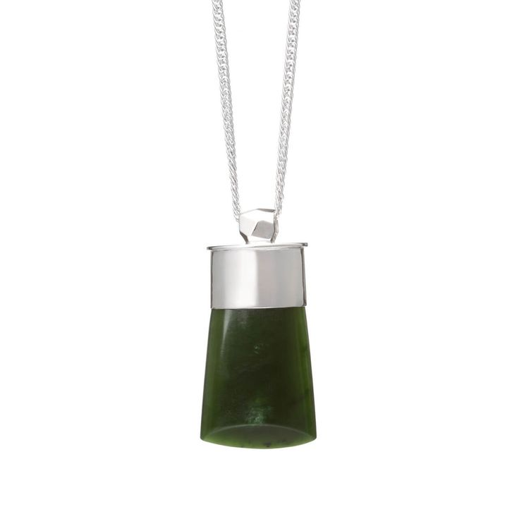 New Zealand Pounamu Faceted Silver Capped Adze Necklace