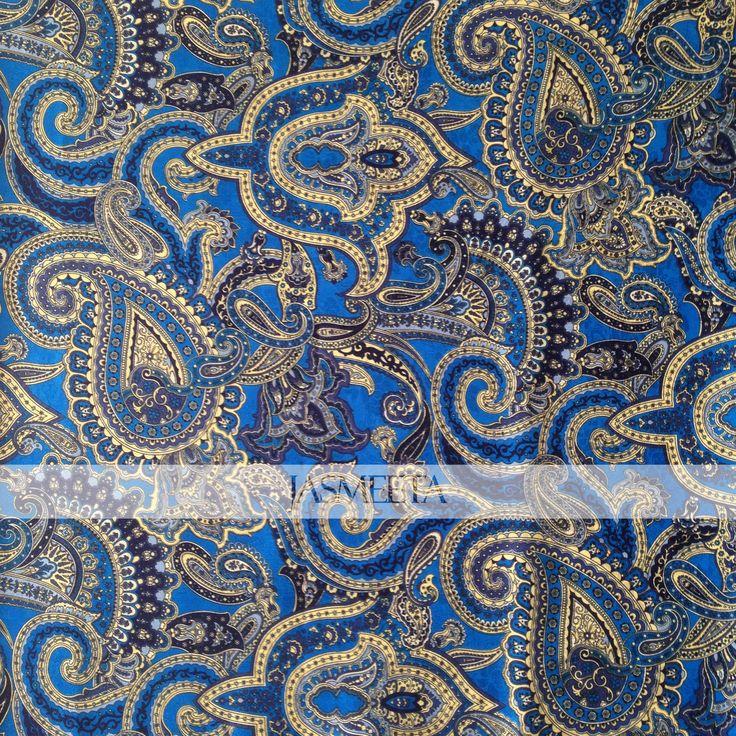 Blue Printed Silk Fabric. Paisley Design.