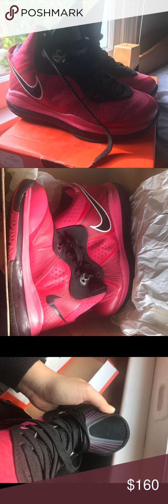 Rare Hot Pink & Black Lebron 8  V2 Excellent used condition, I've worn it a handful of times about 6 years ago, and haven't worn them since. No damages but is a bit dirty on the bottom, shows no signs of wear and tear. Size 4 Youth which is equivalent to about size 5-5.5women's. Very hard to find basketball shoes, going for over $300 on ebay. Comes with Nike box, but isn't the original box. Make an offer if interested!! Nike Shoes Athletic Shoes