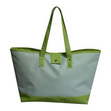 Green Colour Women Beach Bag with Press Stud Closing