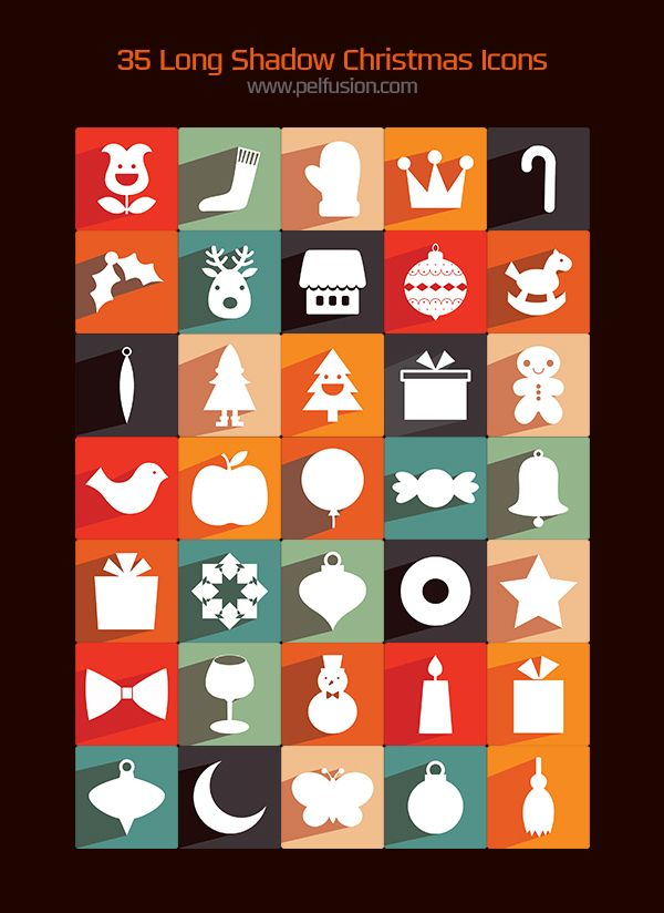 35 long shadow Christmas icons #freebie #christmas