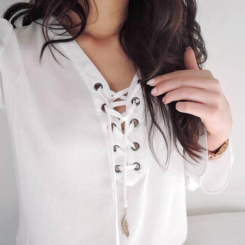 Women's Stylish V-Neck Lace-Up Chiffon Long Sleeve Blouse