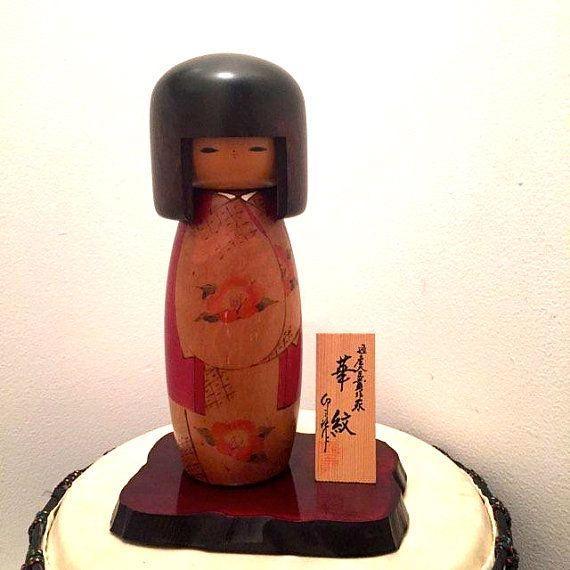 Japanese Kokeshi Wooden doll Large Kokeshi doll. by HippyHappyShop