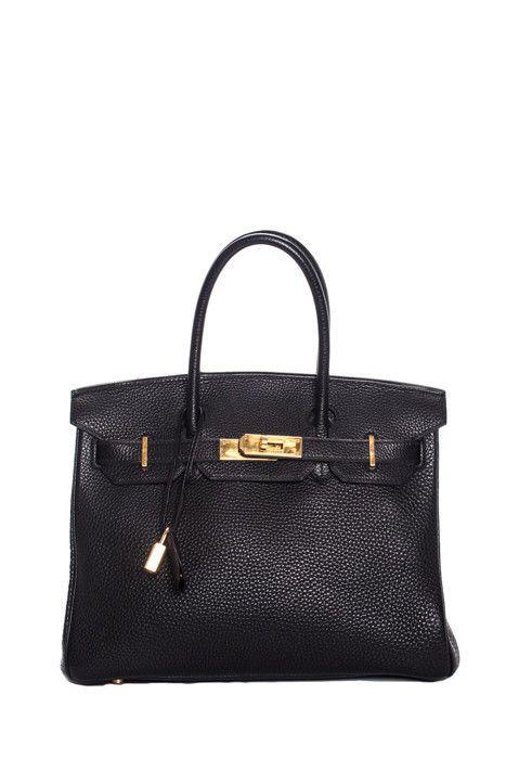 e8dd123d80 Hermes Black Gold Tone Togo 30CM Birkin Satchel Handbag