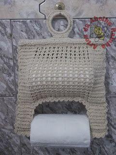 Artes da Abelha Rainha: Porta papel toalha e pano de prato de crochê