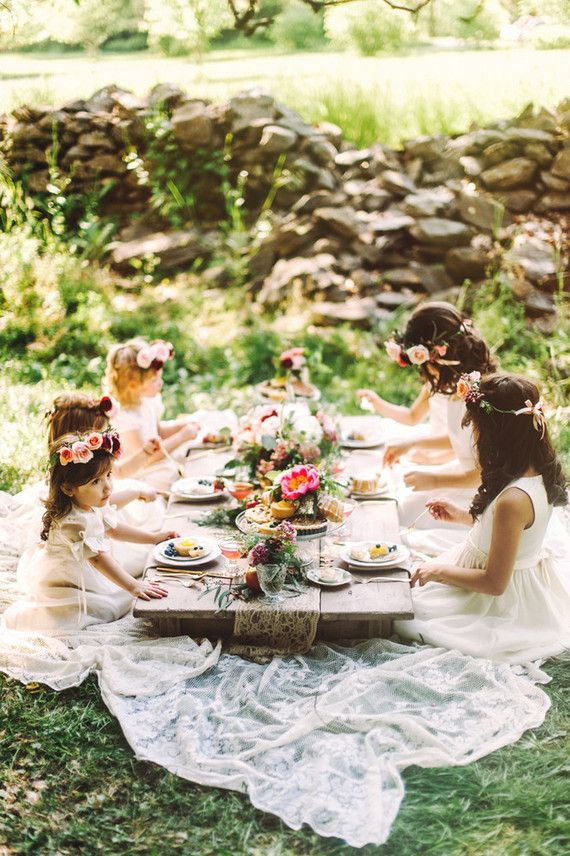 A garden picnic for your flower girls... or bridemaids, because you're never too old