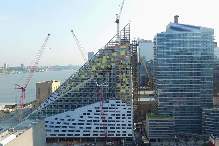 drone video documents construction progress at BIG's new york courtscraper