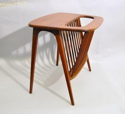 Vtg. Mid Century Danish Modern Walnut Wood Magazine Table Risom Umanoff