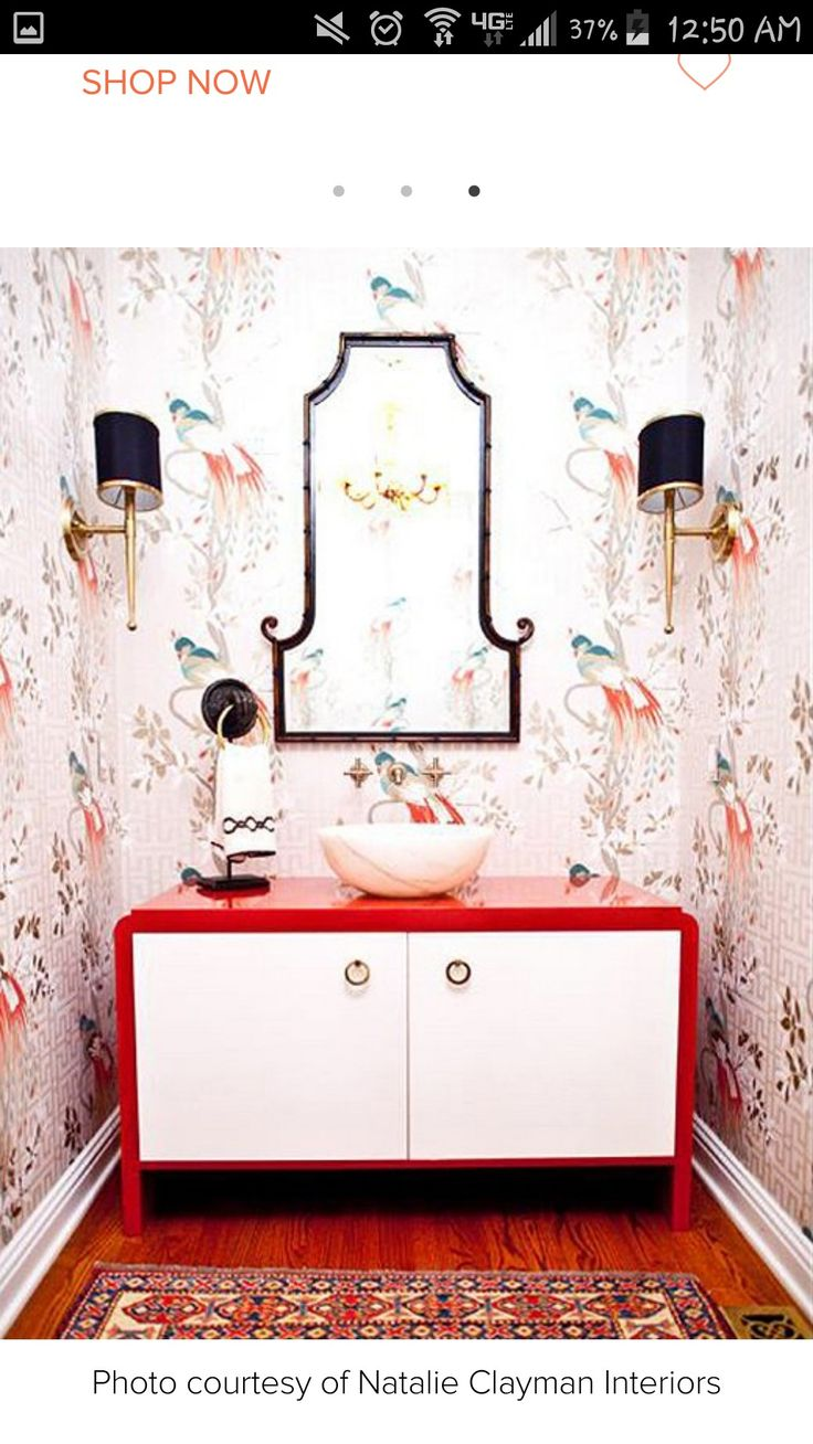 Love the Asian look that this bathroom has as well as the wall paper!