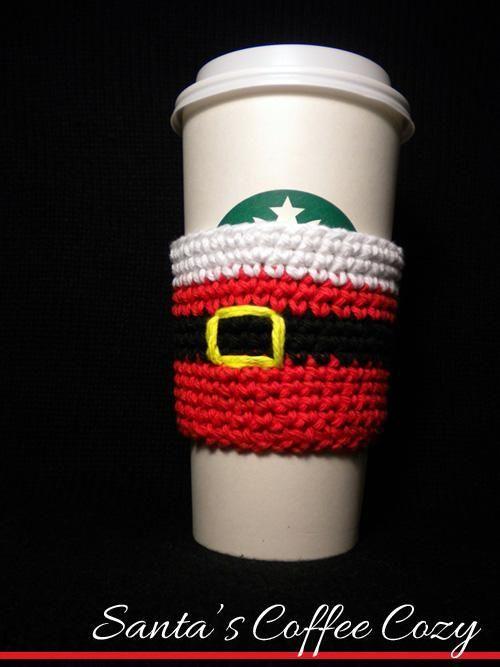Santa's Coffee Cozy... quick and easy. Reusable!
