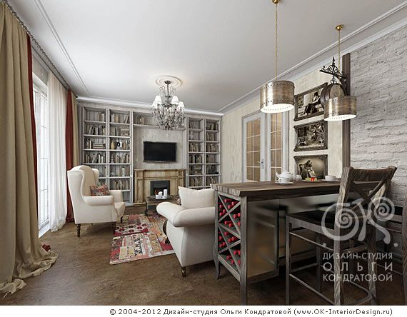 Вид из кухни на гостиную зону http://www.ok-interiordesign.ru/blog/eclectic-kitchen-living-room-interior.html