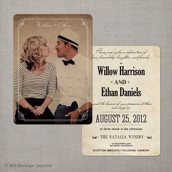 Not sure I'm crazy about having your photo on your wedding invite but cute anyway.