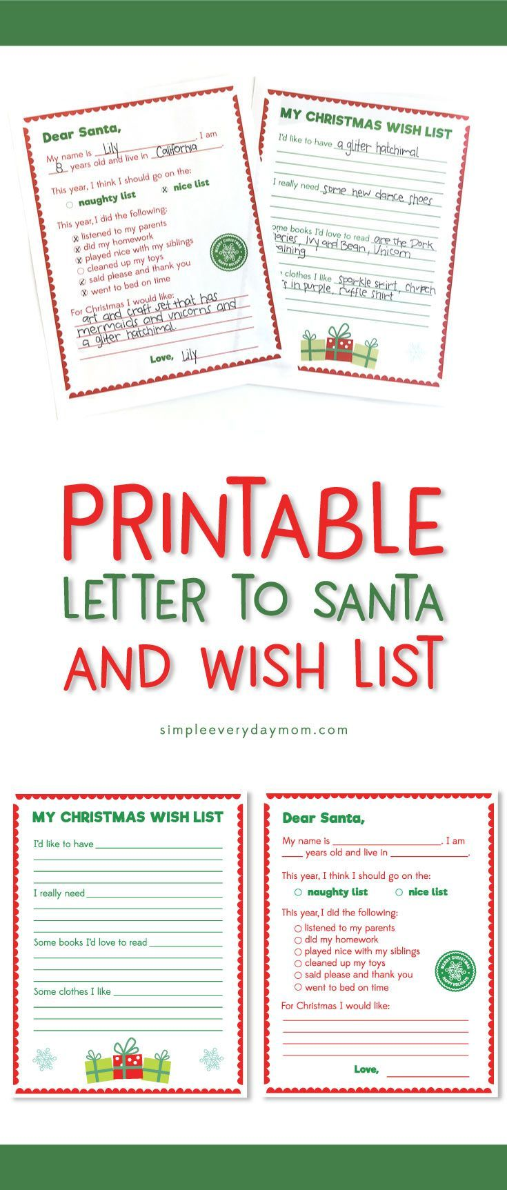 Printable Letter To Santa & Wish List | Have your kids write a letter to Santa with this easy to fill out printable. There's also a wish list they can fill out to give to family! #christmas