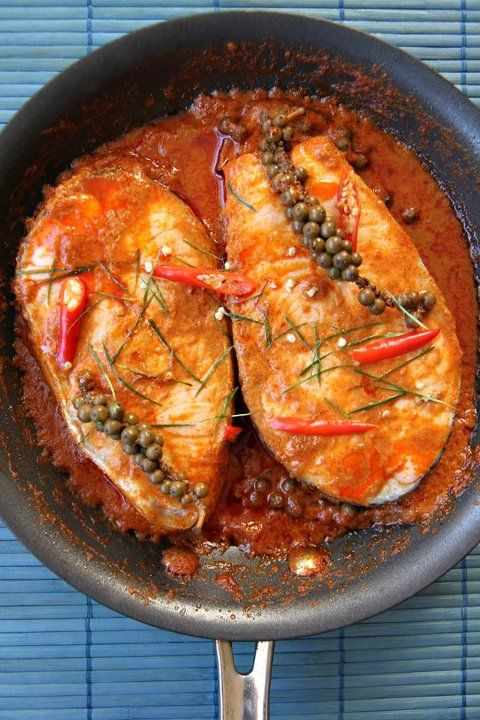 Halibut in Red Curry Sauce with Young Green Peppercorns/Thai Food by SheSimmers