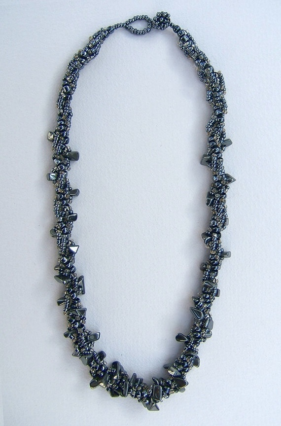 Necklace.Hematite necklace. Beadwork Jewelry. by FerCreations, $28.00