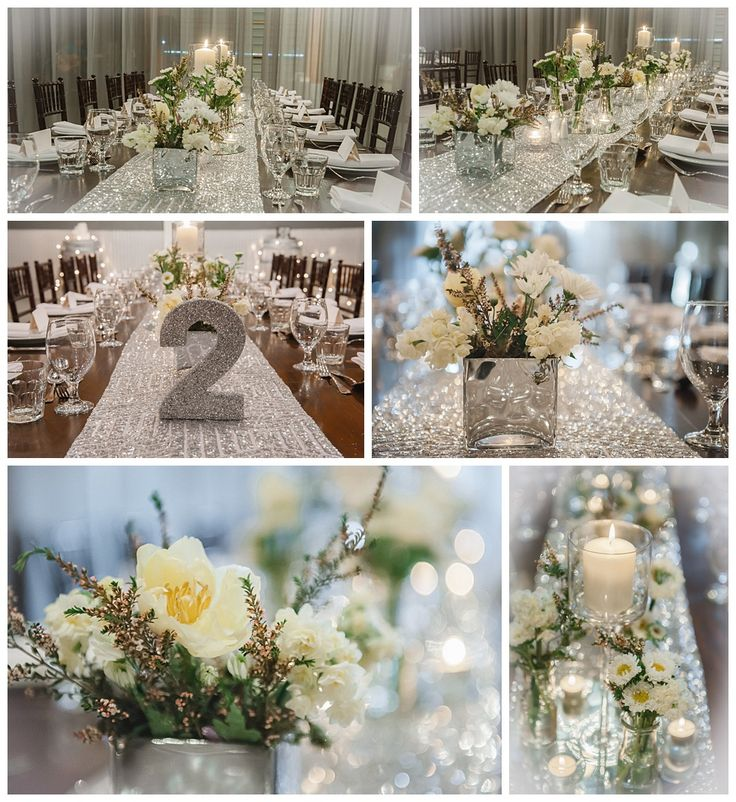 Osteria Wedding Reception Styling Rustic glam #silver #sequins #mirror #glitter