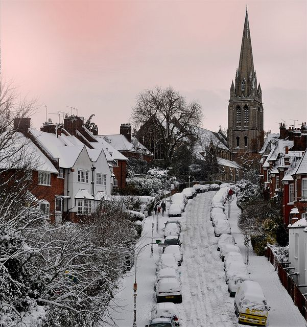 Snow in North London - St. James Church, Muswell hill, North London