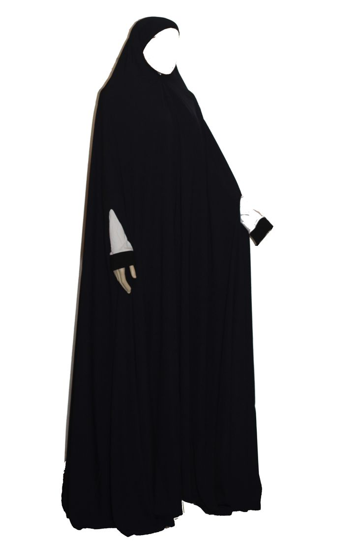 """The feet length khimar with arm opening sleeve is a great hassle free overgarment for the night prayer during this Ramadan. Very concealing and lightweight.  Provides great coverage.  Length : 165cm / 66"""" Approx."""