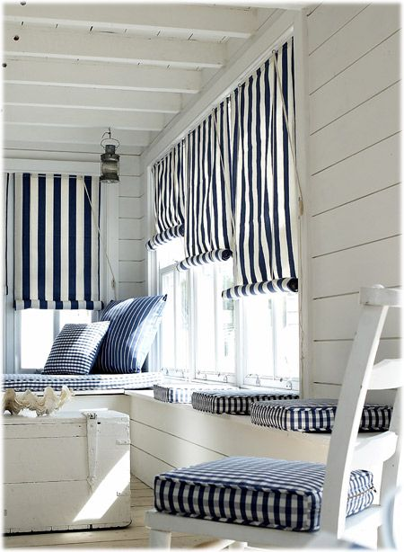 Go right over the top with this French maritime look. Stripes and checks? They look super crisp in navy and white.  Inspiration from www.californiashutters.co.uk #shutters