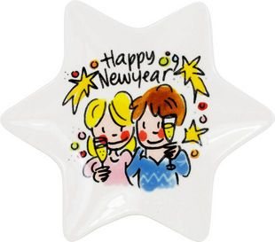 Hapjes serveren met dit leuke stervormige kerst schaaltje? Maak je kersttafel compleet met dit schaatlje Happy New Year van Blond-Amsterdam.