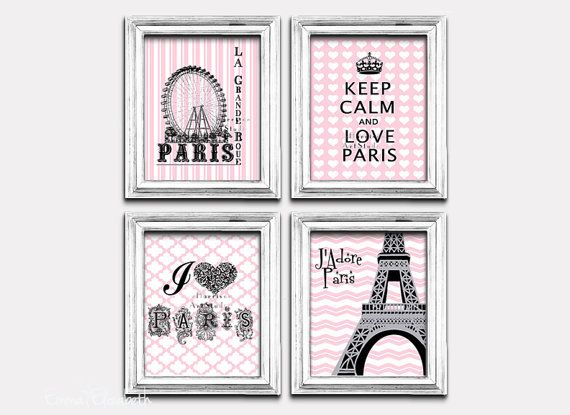 Kids decor Wall art I love Paris art set Girls room Wall decor Eiffel tower  print