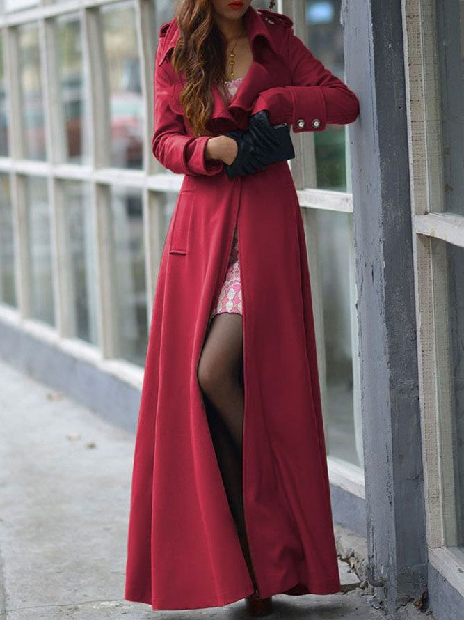Red Lapel Single Button Woolen Trench Coat -SheIn(abaday)