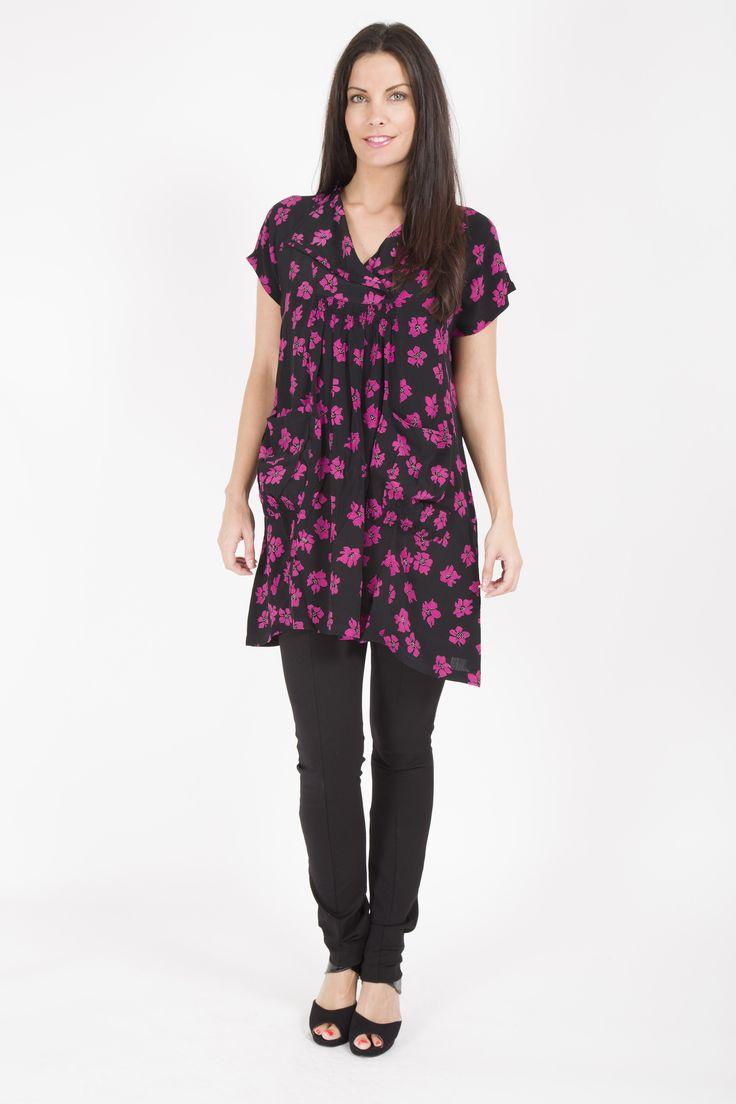 MASAI SHORT SLEEVE FLORAL POCKET FRONT DRESS