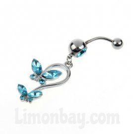 Piercing de ombligo - Mariposas estilizadas en azul claro
