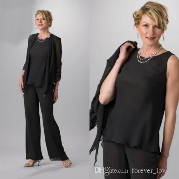 THIS COMES IN LOTS OF COLORS/LIKE THE SHORTER JACKET ON THIS ONE  2016 Black Three Pieces Mother Of Bride Pant Suits With Long Jackets Illusion Sleeves Chiffon Mother Of Groom Plus Size Wedding Guest Dress Joan Rivers On Joan Rivers Rivers From Forever_love_u, $105.53| Dhgate.Com