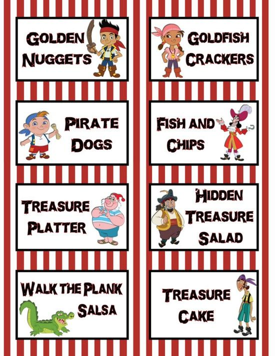 Food Labels with Pirate Themes.  We had Golden Nuggets (chicken nuggets), Berried Treasure (Strawberries, Blueberries & Raspberries), Rubies (tomatoes), Peg Legs (carrot sticks), Timbers (Broccoli), ROTELescope Dip (Rotel Cheese Dip), TriCORN hat dip (Corn Dip), Sweet & Unsweet Tea (Ahoy, MaTEA!), Fish & Chips (Chips and Goldfish), Izzy's Fizzies (Soft Drinks)