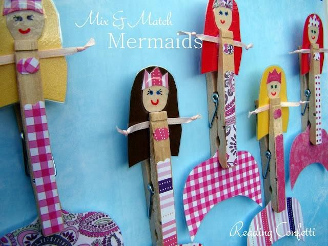 Sirenas hechas con broches de la ropa: Crafts Ideas, For Kids, Clothespins Crafts, Clothespins Mermaids, Natural Crafts, Mixed Matching, Reading Confetti, Mermaids Crafts, Matching Clothespins