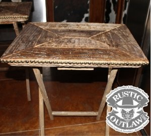 Rustic Weathered Wood TV Tray Tables   Set Of 2 Rope Trim Nailhead Trim  Made Of Rustic Weathered Wood Barn Barnwood RusticOutlaw.com | Pinterest |  Tv Tru2026