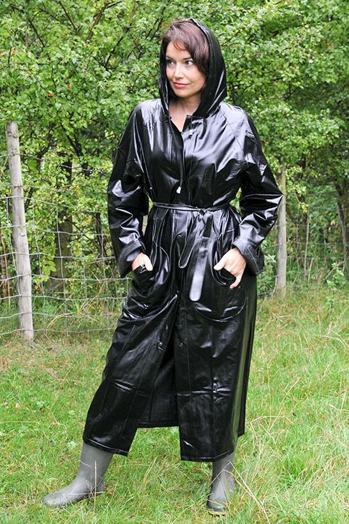 Black PVC Hooded Raincoat - http://fashionrainwear.co.uk/